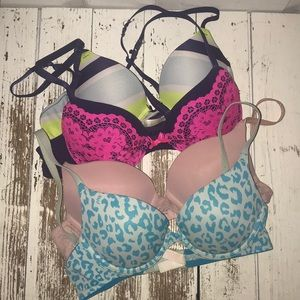 Bundle 4 Push Up Bras Sz 34A